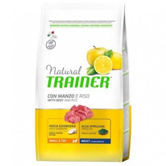 Корм для собак TRAINER (2 кг) Natural Adult Small&Toy Beef and rice dry