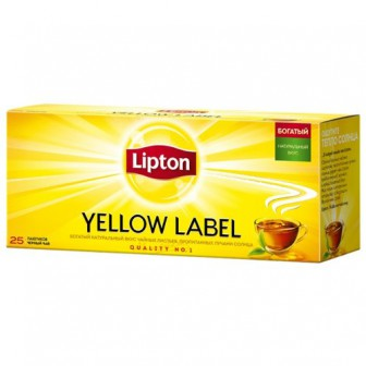 Чай черный Lipton Yellow label в пакетиках, 50 г, 25 шт.