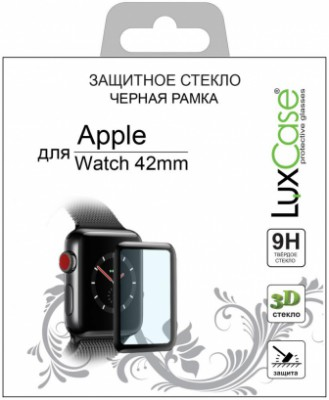 Luxcase 3D Glass для Apple Watch 42 мм черная рамка