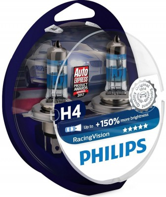 Philips H4 12V- 60/55W (P43t) (+150% света) Racing Vision 2шт